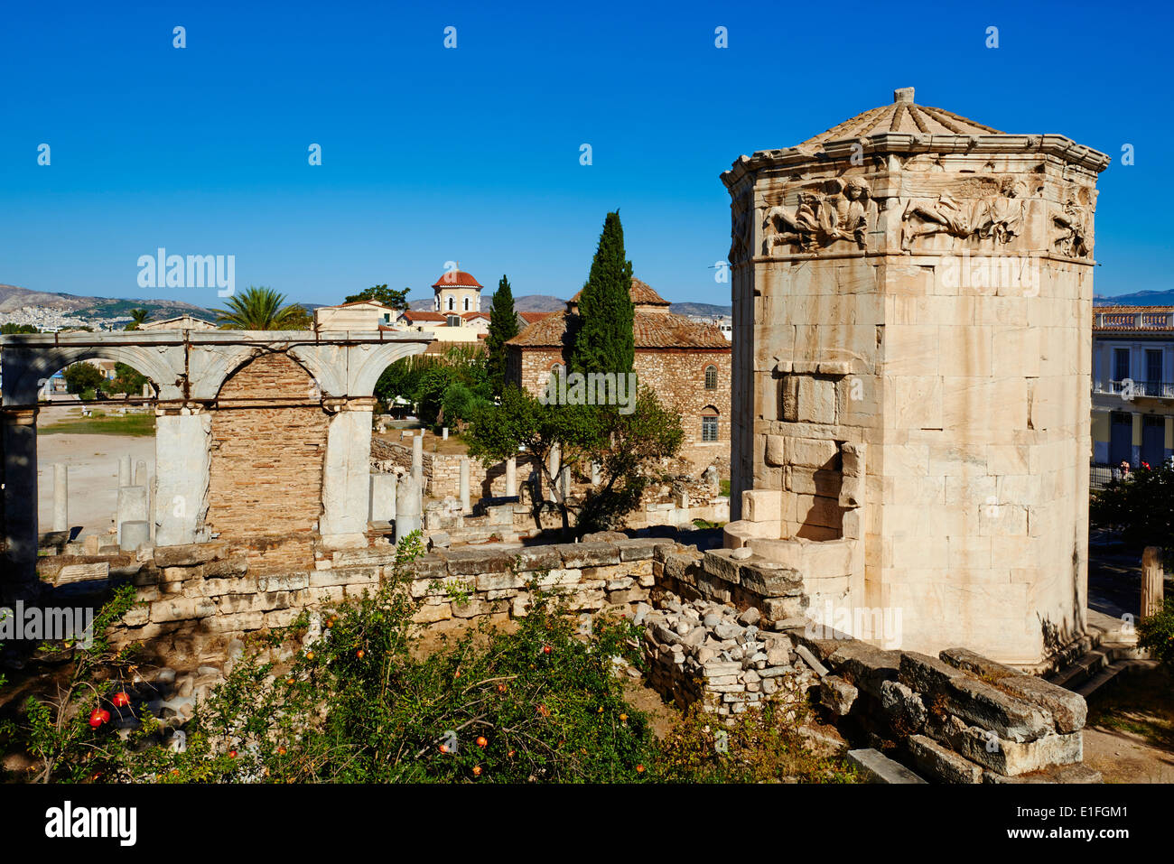 Greece, Athens, the Tower of the Winds in the Roman Agora of Athens - Stock Image