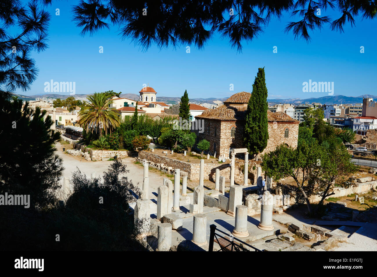Greece, Athens, The Roman Agora, Plaka neighbourhood - Stock Image