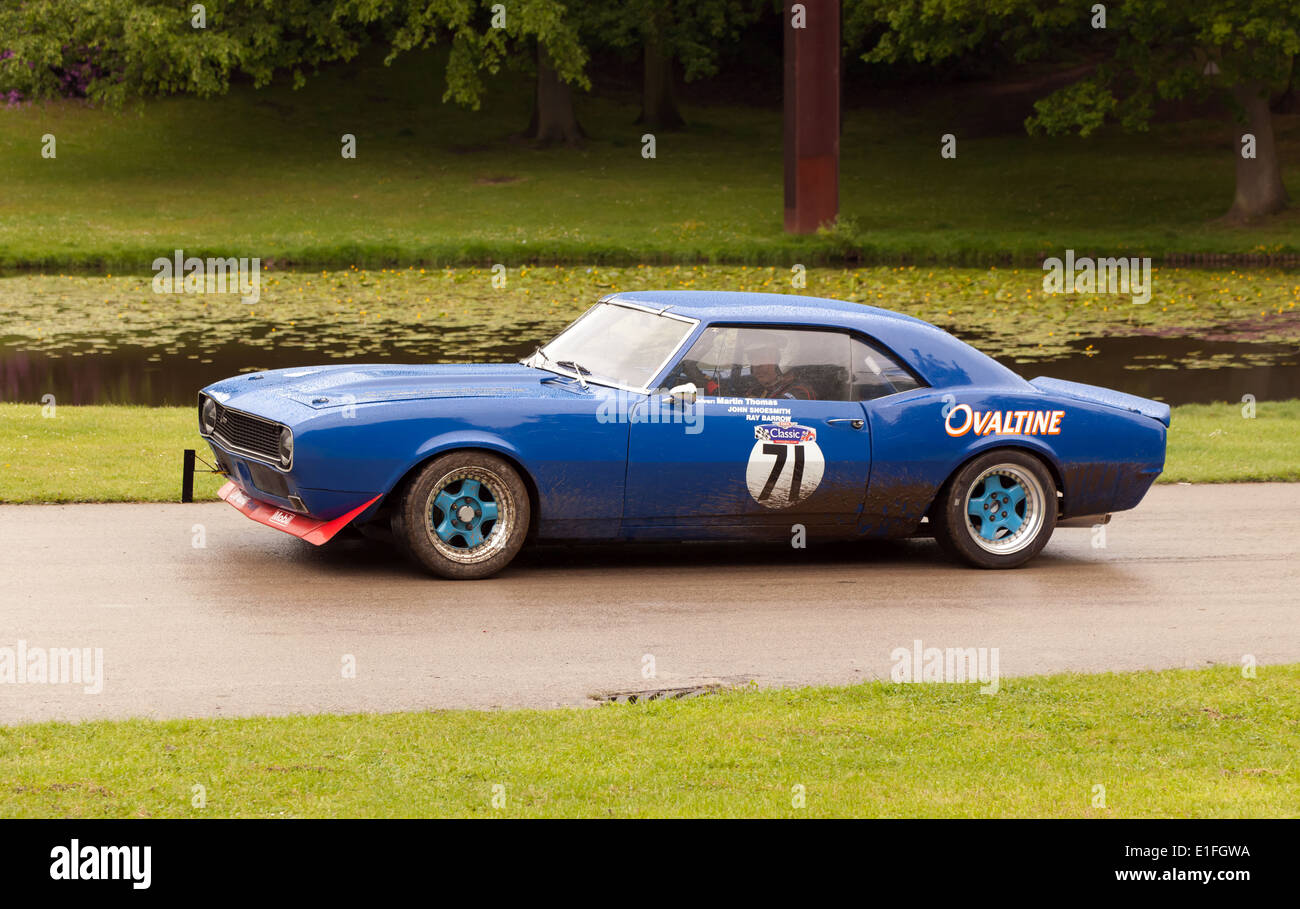 A 1968 First generation, Chevrolet Camaro taking part in a Sprint Race at Motorsport at the Park 2014. - Stock Image