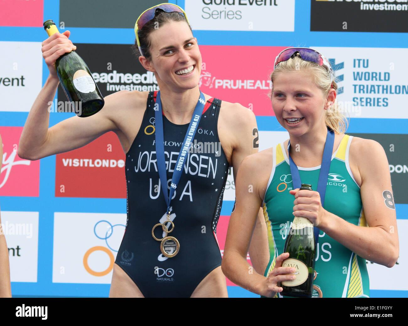 Gwen Jorgensen during the 2014 ITU Triathlon held in London - Stock Image