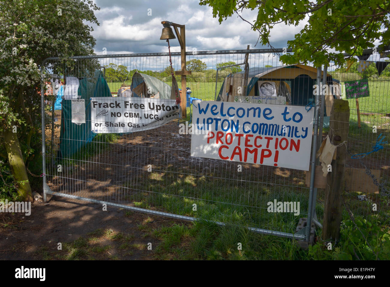 Upton Community Protection Camp, an anti-fracking protest camp near Chester. - Stock Image