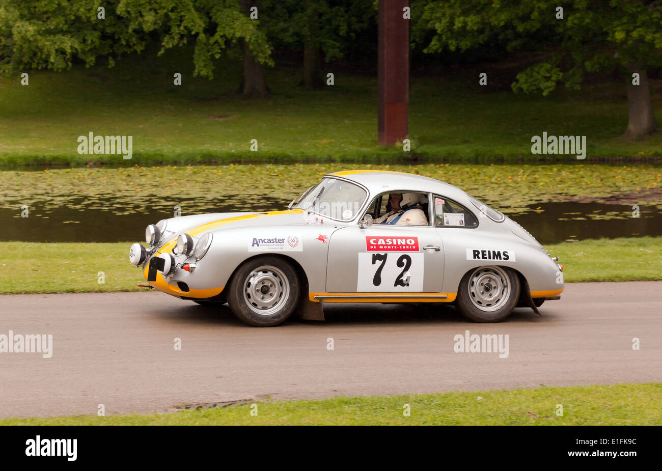 A 1962 Porsche 356, competing in the Sprint race at the  2014  Motorsport at the Place. - Stock Image