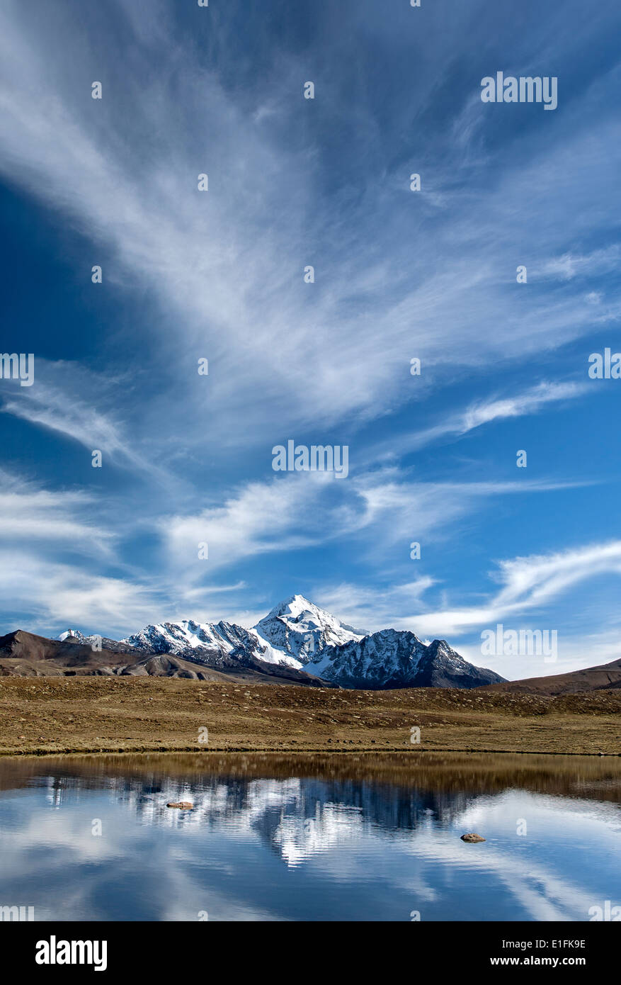 Huayna Potosi mountain (6088mts). Cordillera Real. Bolivia - Stock Image