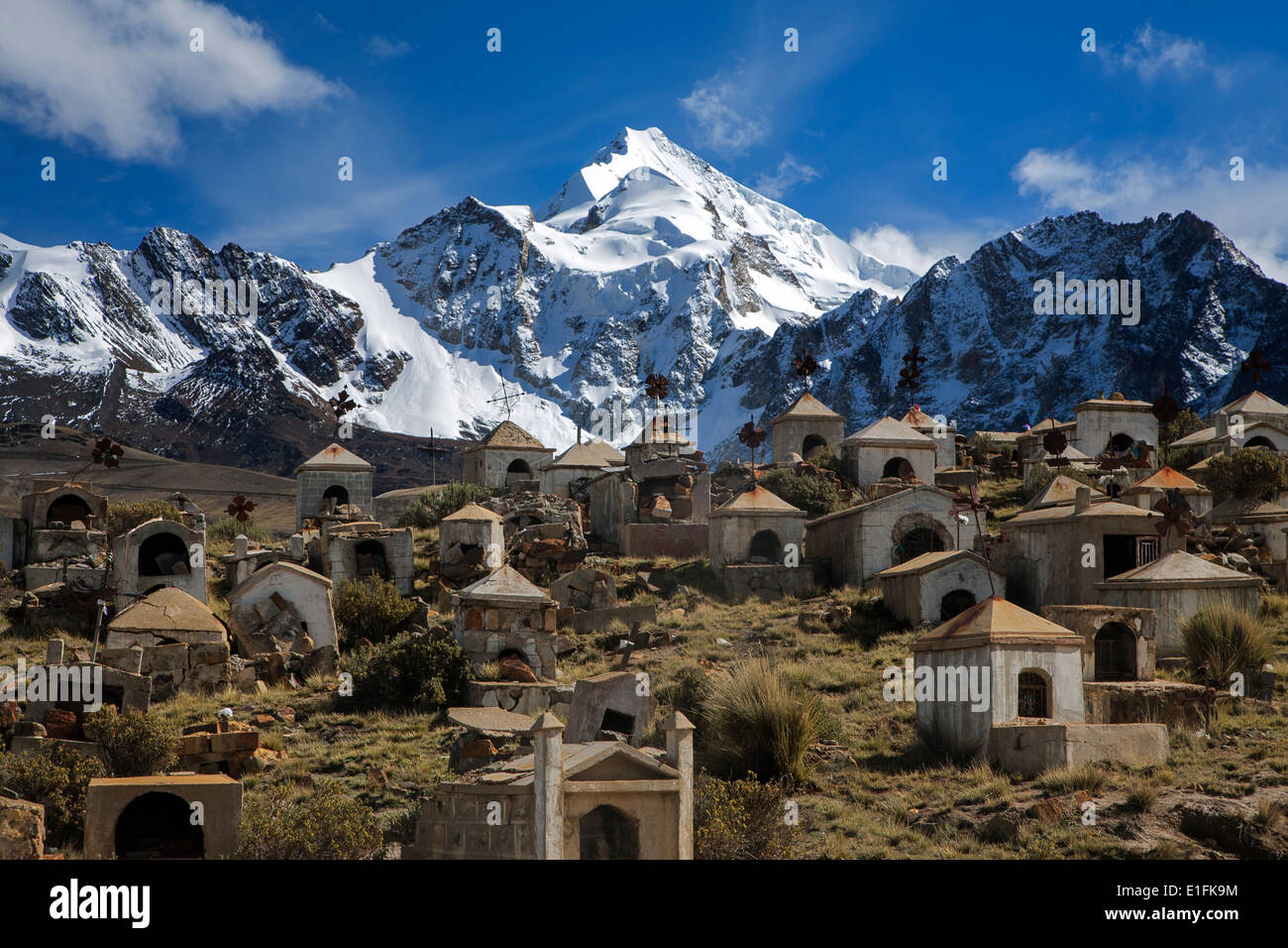 Milluni miner´s cemetery and Huayna Potosi mountain (6088mts). Cordillera Real. Bolivia - Stock Image