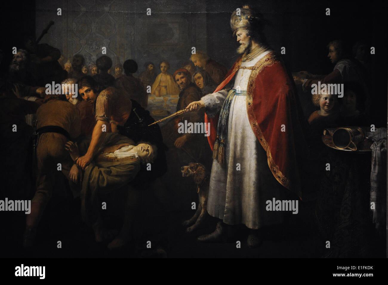 Dirck Dircksz van Santvoort (1610–1680). Dutch Golden Age painter. The parables of the wedding guests, 1640. Stock Photo
