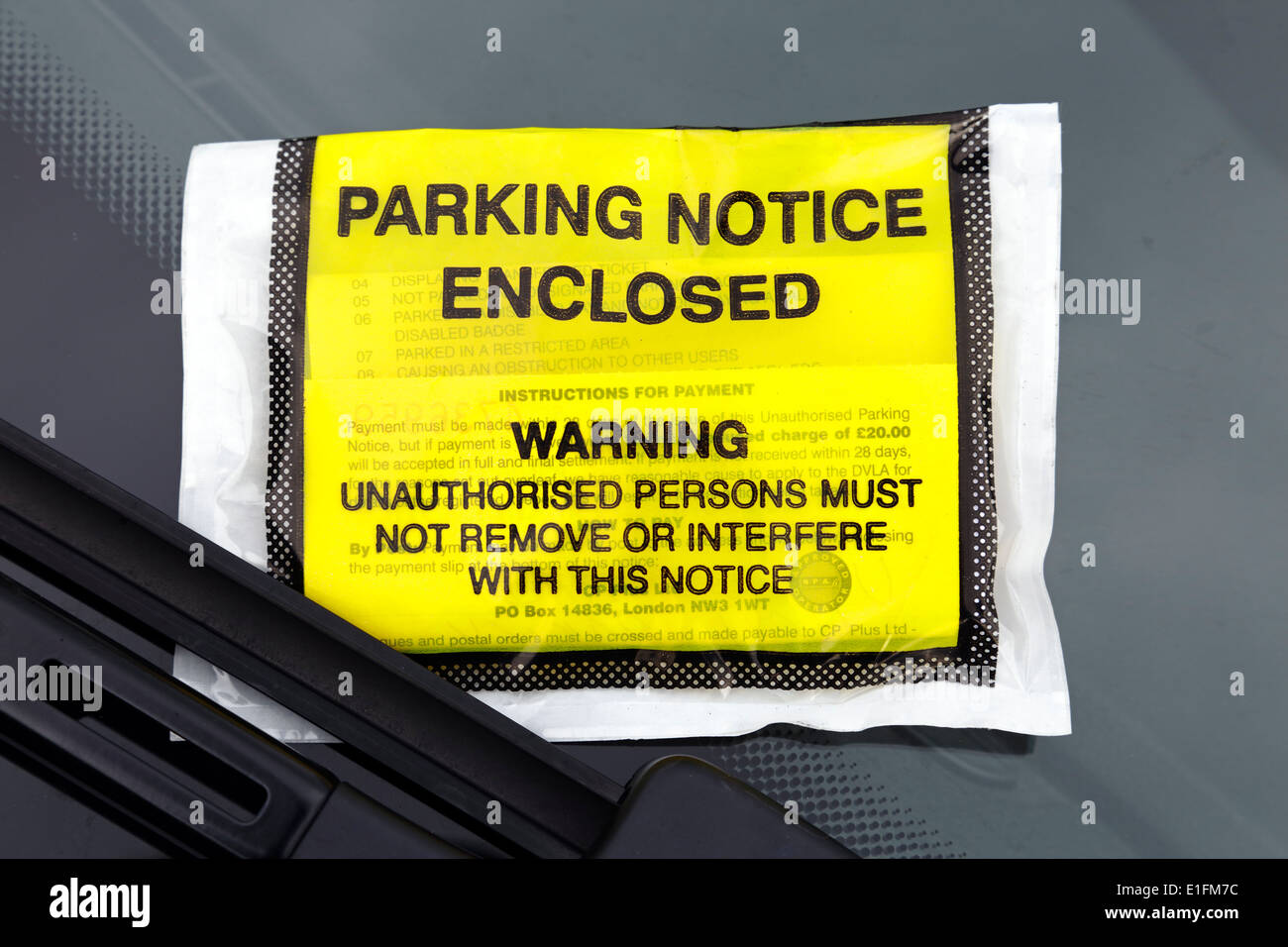 A parking ticket issued in a hospital car park, Scotland, UK - Stock Image