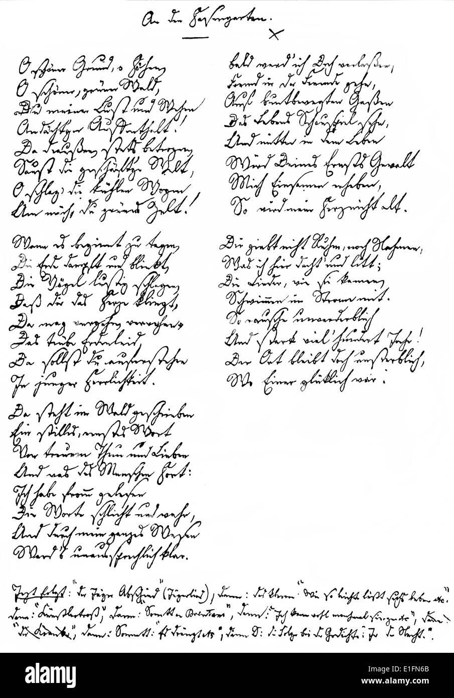 Abschied Handwritten Poem By Joseph Karl Benedikt Freiherr