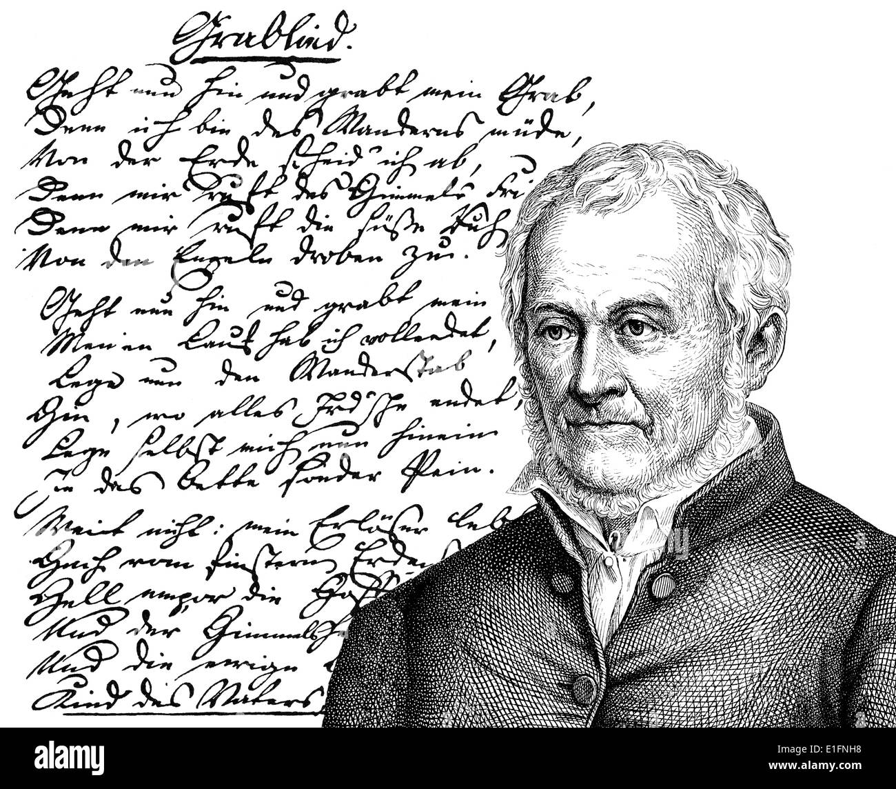 Ernst Moritz Arndt, 1769 - 1860, a German writer and deputy of the National Assembly in Frankfurt, Das Grablied, The grave song, - Stock Image