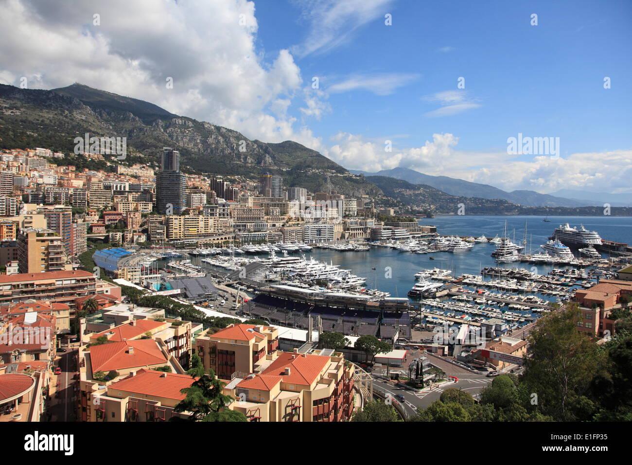 Port Hercule, Harbor, Monte Carlo, Monaco, Cote d'Azur, Mediterranean, Europe - Stock Image