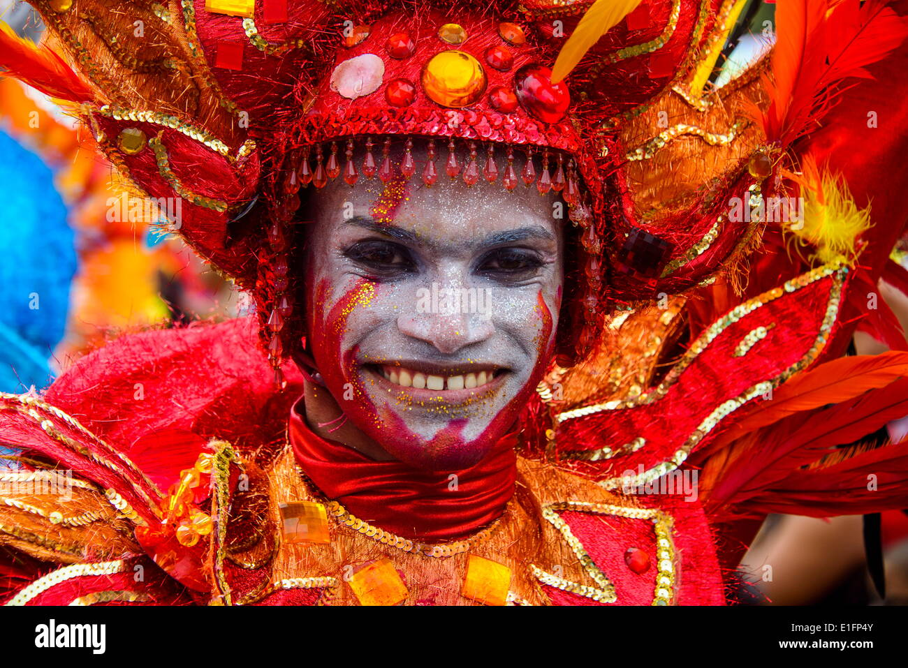 Colourfully dressed man, Carneval in Santo Domingo, Dominican Republic, West Indies, Caribbean, Central America - Stock Image