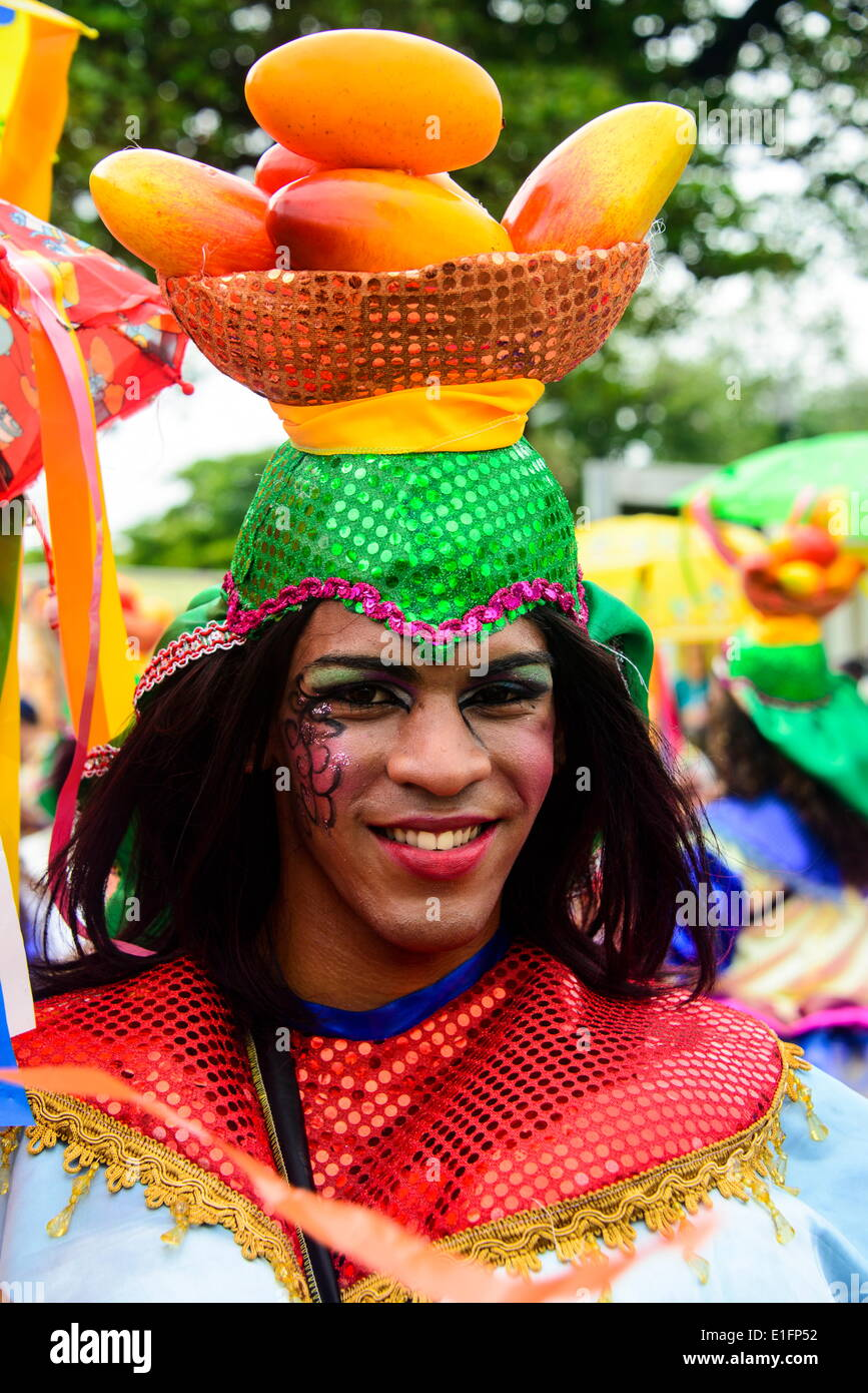 Colourfully dressed in the Carneval in Santo Domingo, Dominican Republic, West Indies, Caribbean, Central America - Stock Image