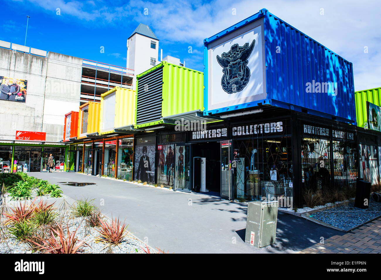 Rebuild center in containers in Christchurch, Canterbury, South Island, New Zealand, Pacific - Stock Image