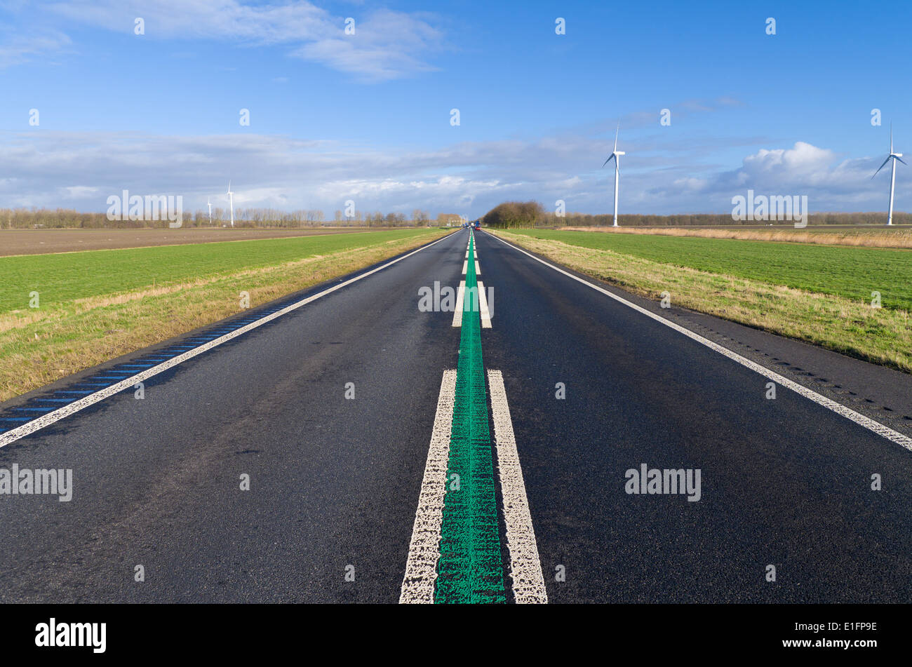 straight road in the netherlands  The green line in the