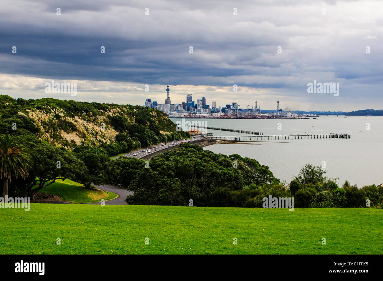 View from the Michael Joseph Savage memorial at the Tamaki Drive over the skyline of Auckland, North Island, New Zealand - Stock Image