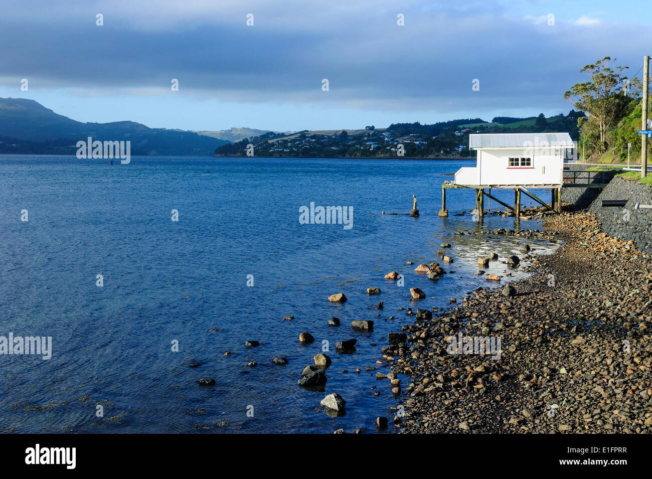 Little fishing cottage on a rocky beach, Otago Peninsula, Otago, South Island, New Zealand, Pacific - Stock Image