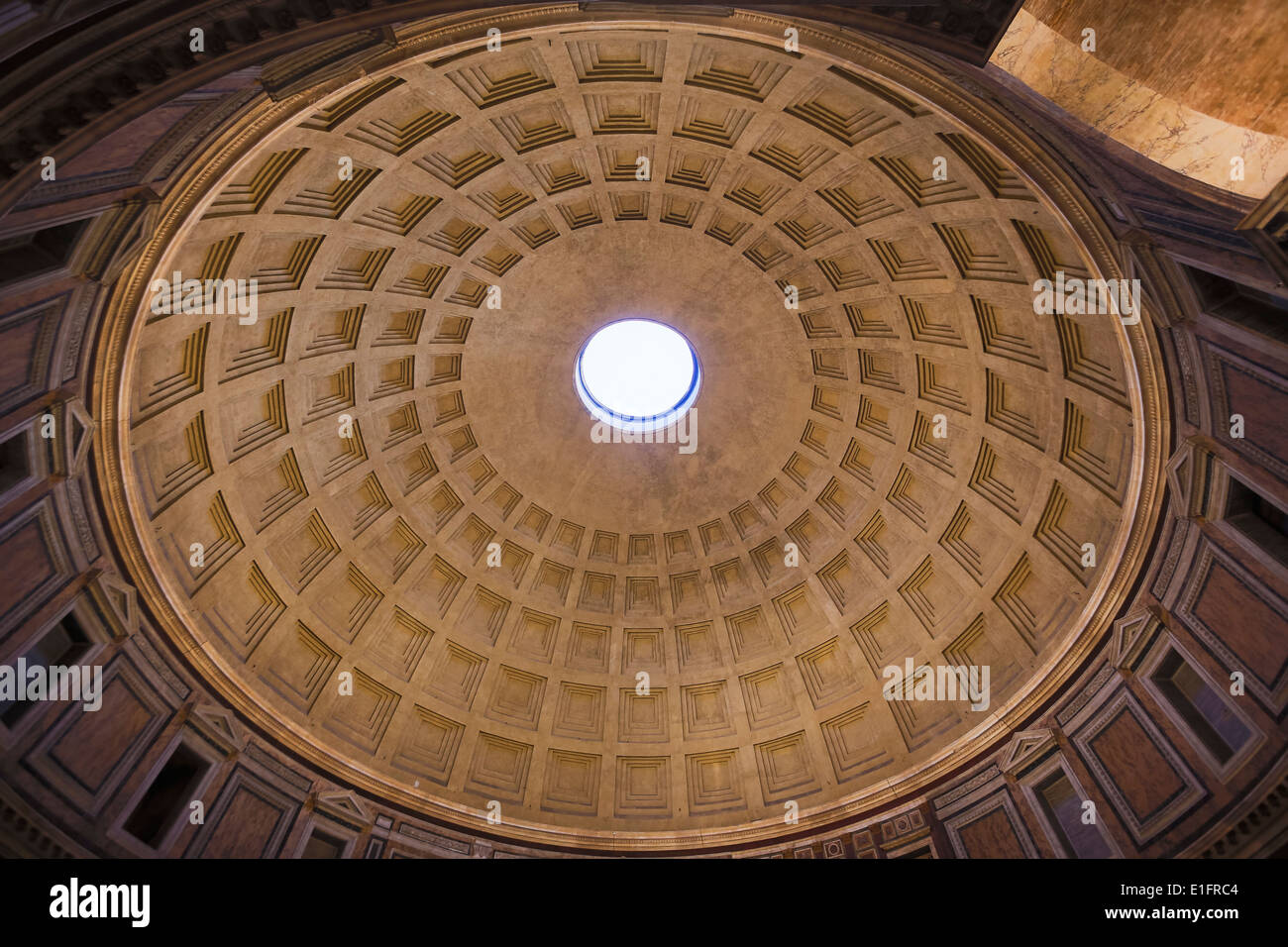 rome italy the dome of the pantheon interior the concrete dome