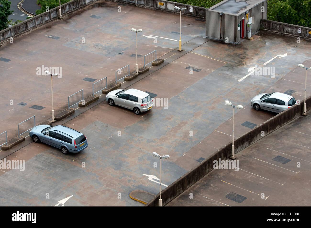 Multistorey car park rooftop, Birmingham city centre, UK - Stock Image
