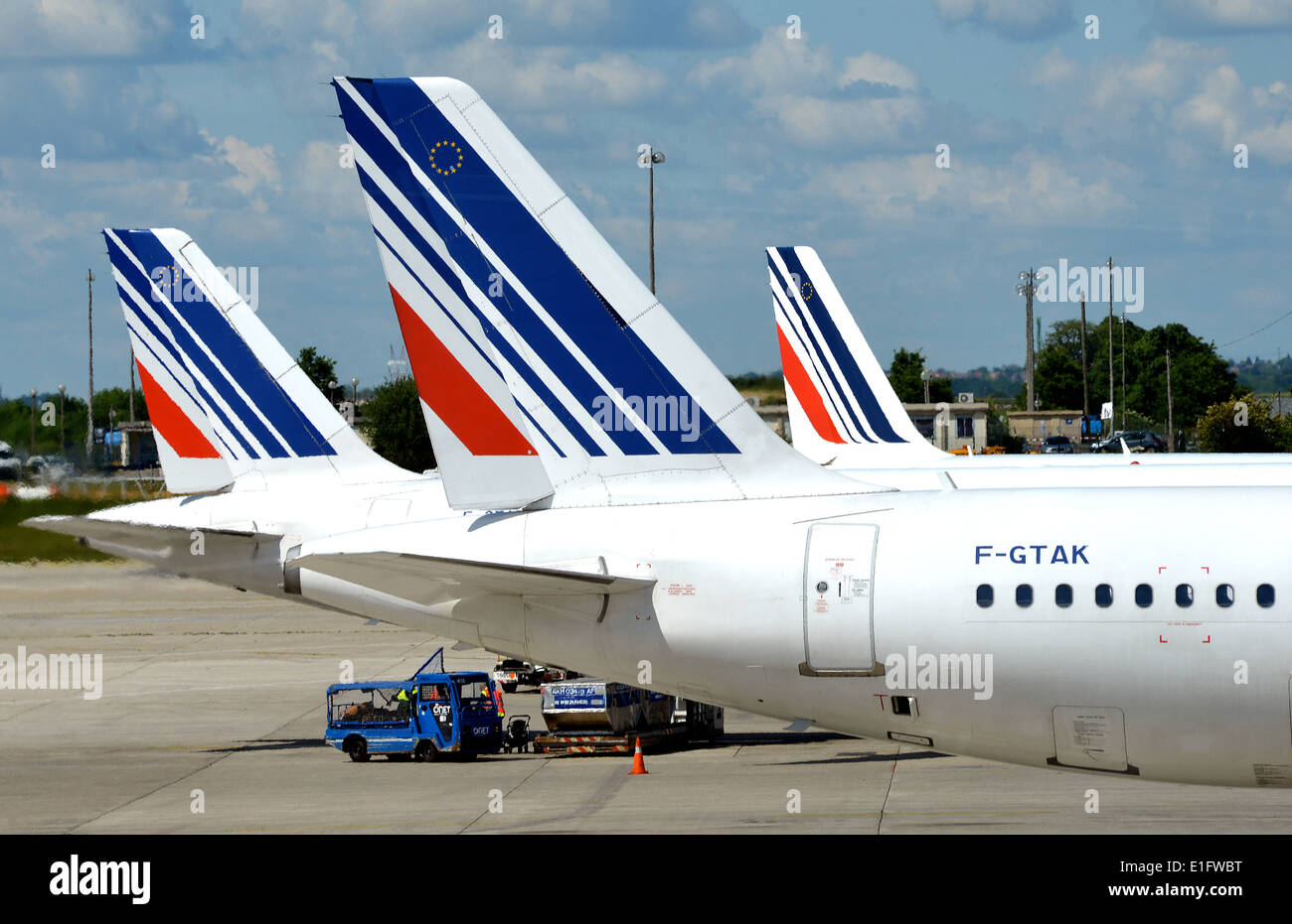 tails of Air France airplanes Roissy Charles-de-Gaulle International airport France - Stock Image