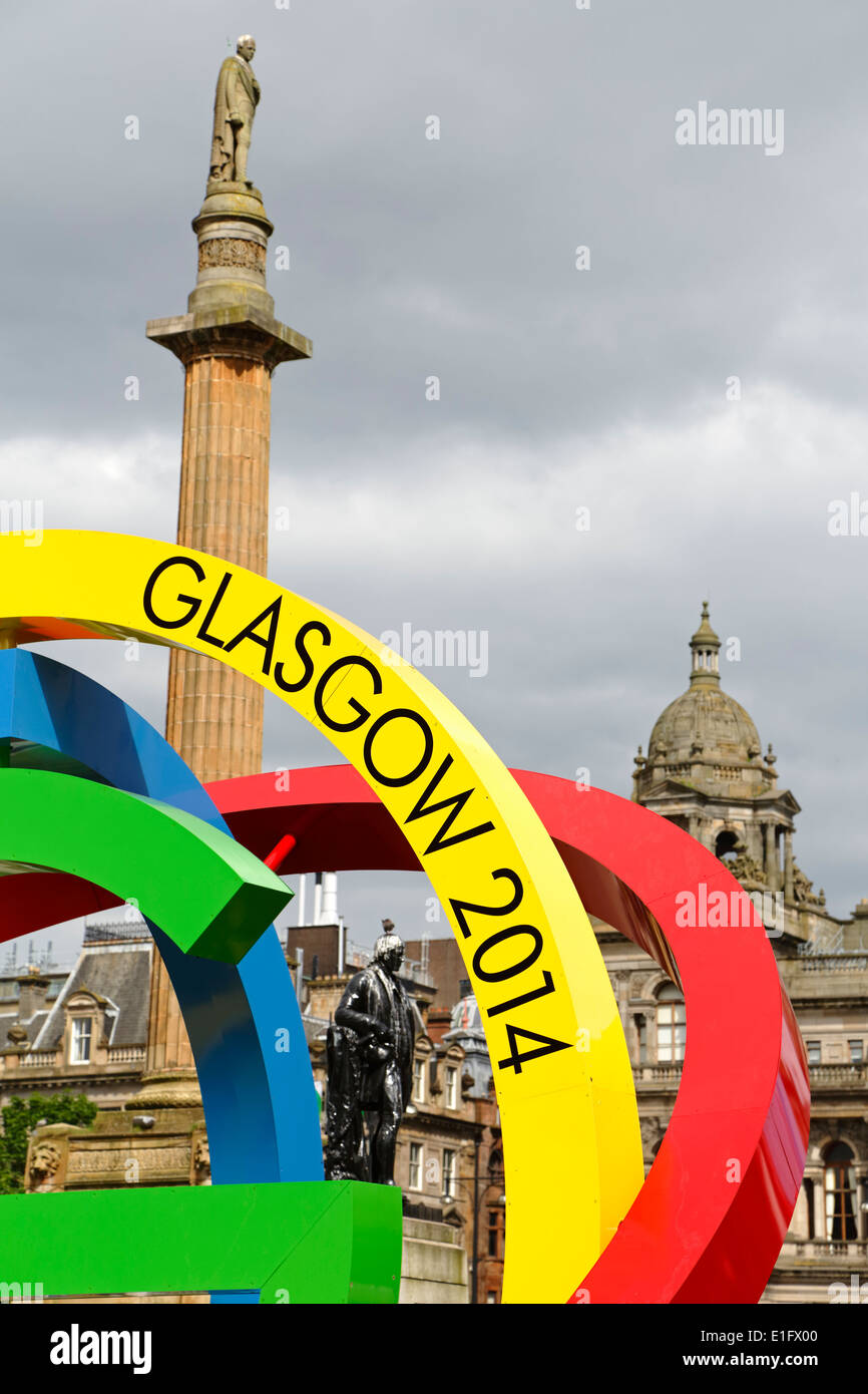Detail of the Glasgow 2014 Commonwealth Games Logo on George Square in Glasgow city centre, Scotland, UK - Stock Image