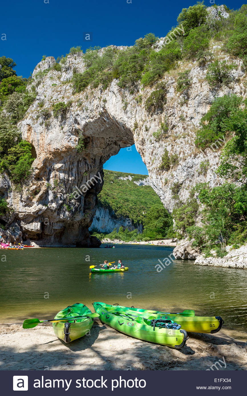 Pont d'Arc over the Ardèche River in France - Stock Image
