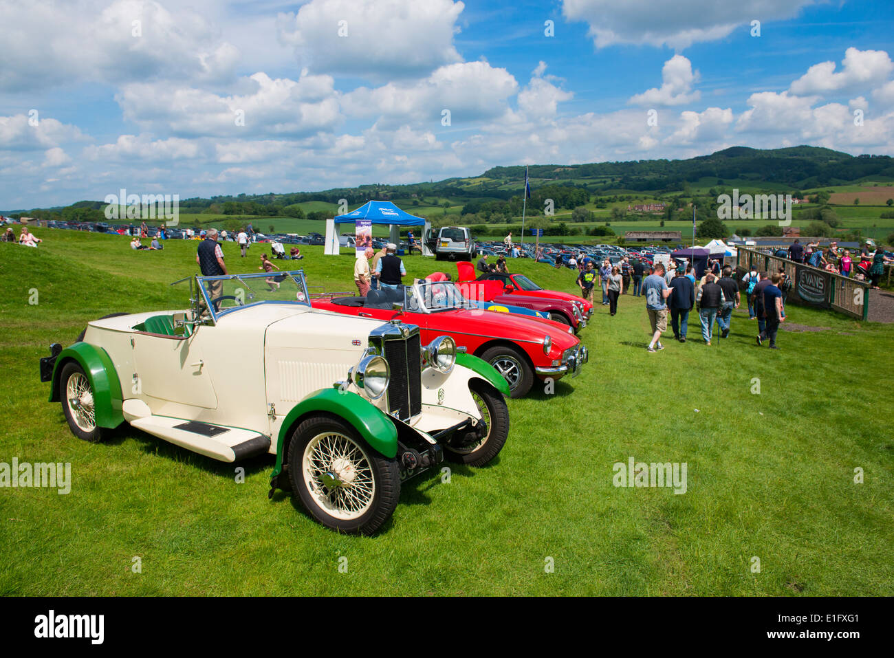 Classic MG sports cars on display at Shelsley Walsh hill climb Worcestershire England UK - Stock Image