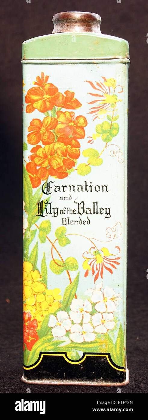 Carnation and Lily of the Valley Blenden talcum powder tin, - Stock Image