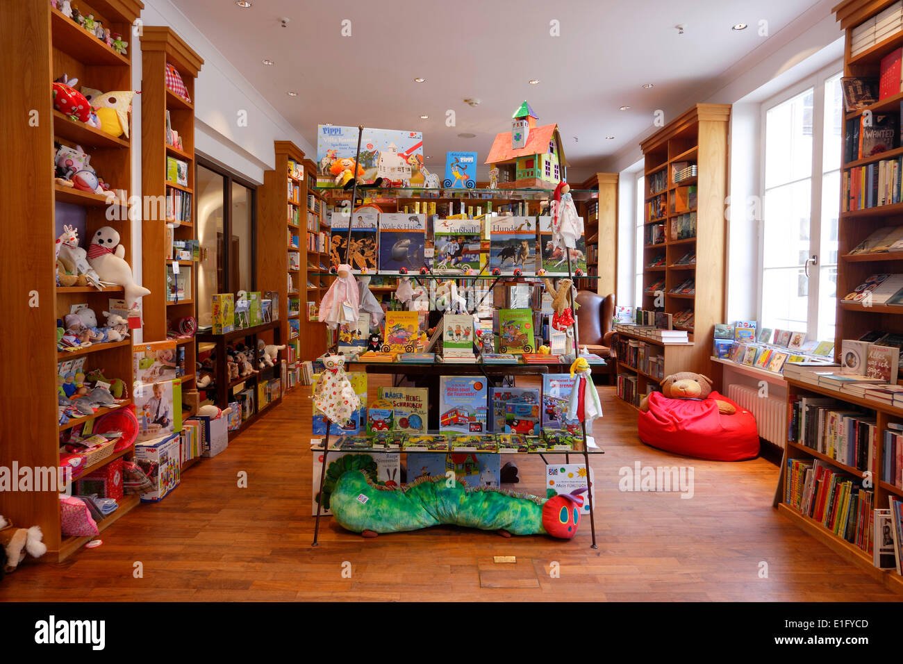 The interior of the foyer in Elmau castle near Kruen with the book store of the hotel - 5 May 2014 Stock Photo