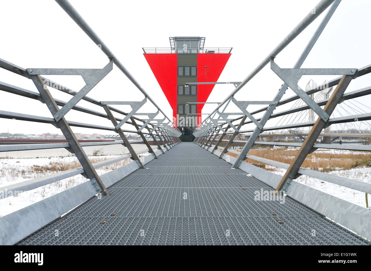 modern red bridge control room in zwolle, netherlands. From this control room 5 bridges around the city are being Stock Photo