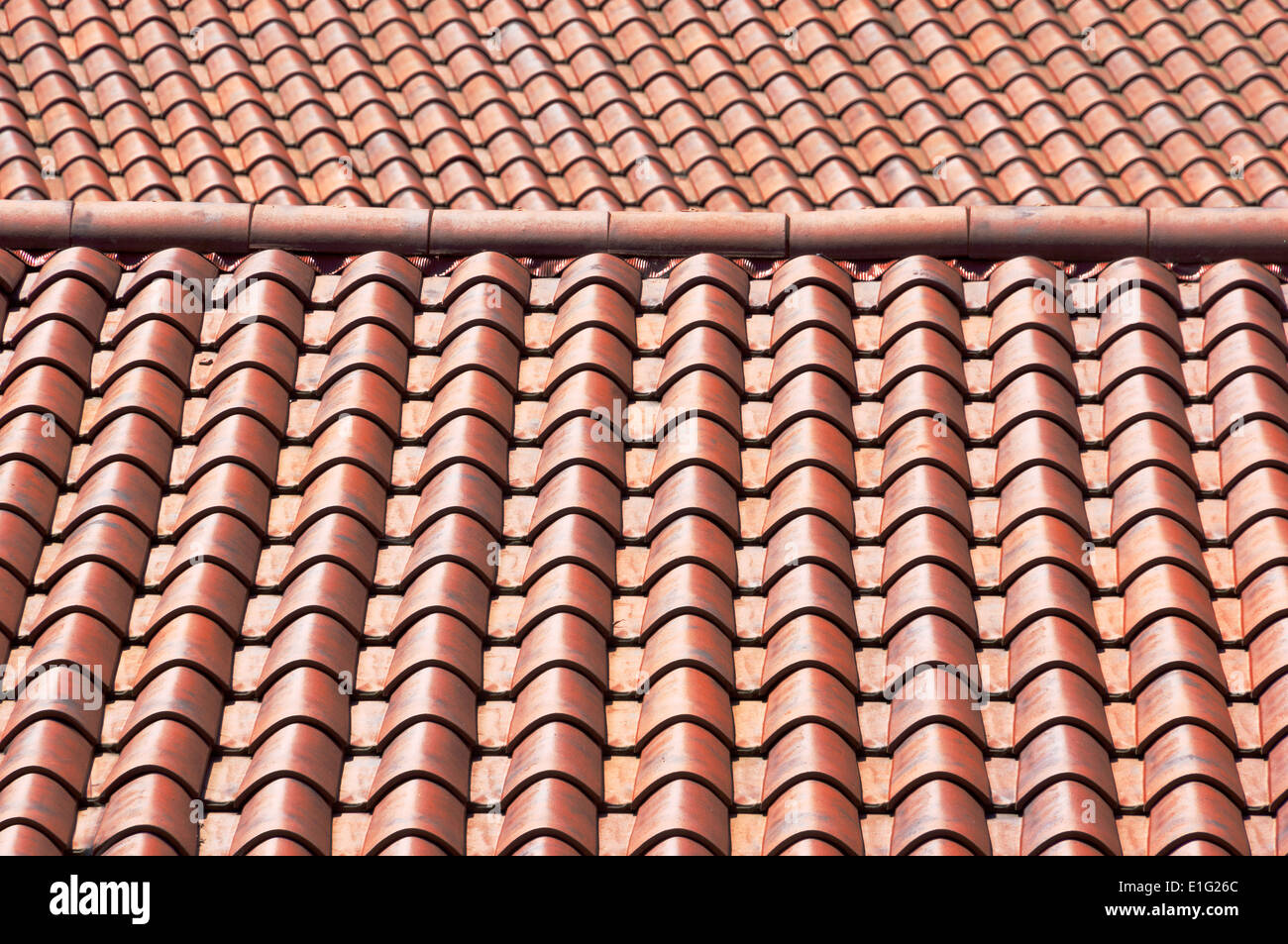 background of new roof tiles Stock Photo