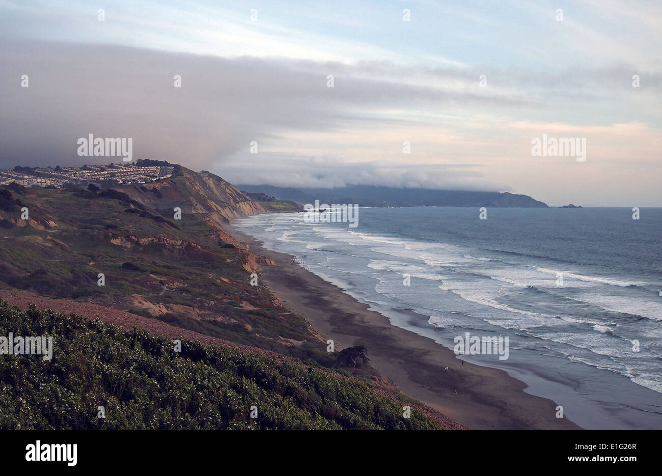 view of houses in Daly city from Fort Funston, GGNRA, San Francis - Stock Image