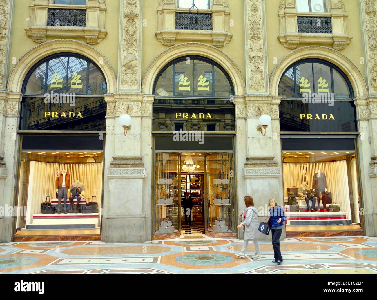 Prada Store In Galleria Vittorio Emanuele In Milan Italy Stock