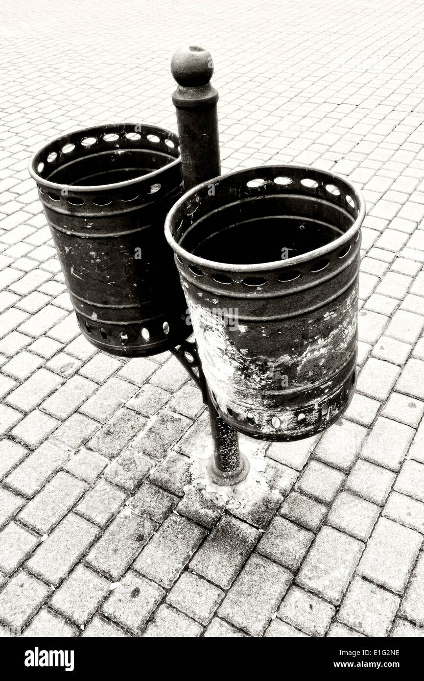 garbage can. Black and white - Stock Image
