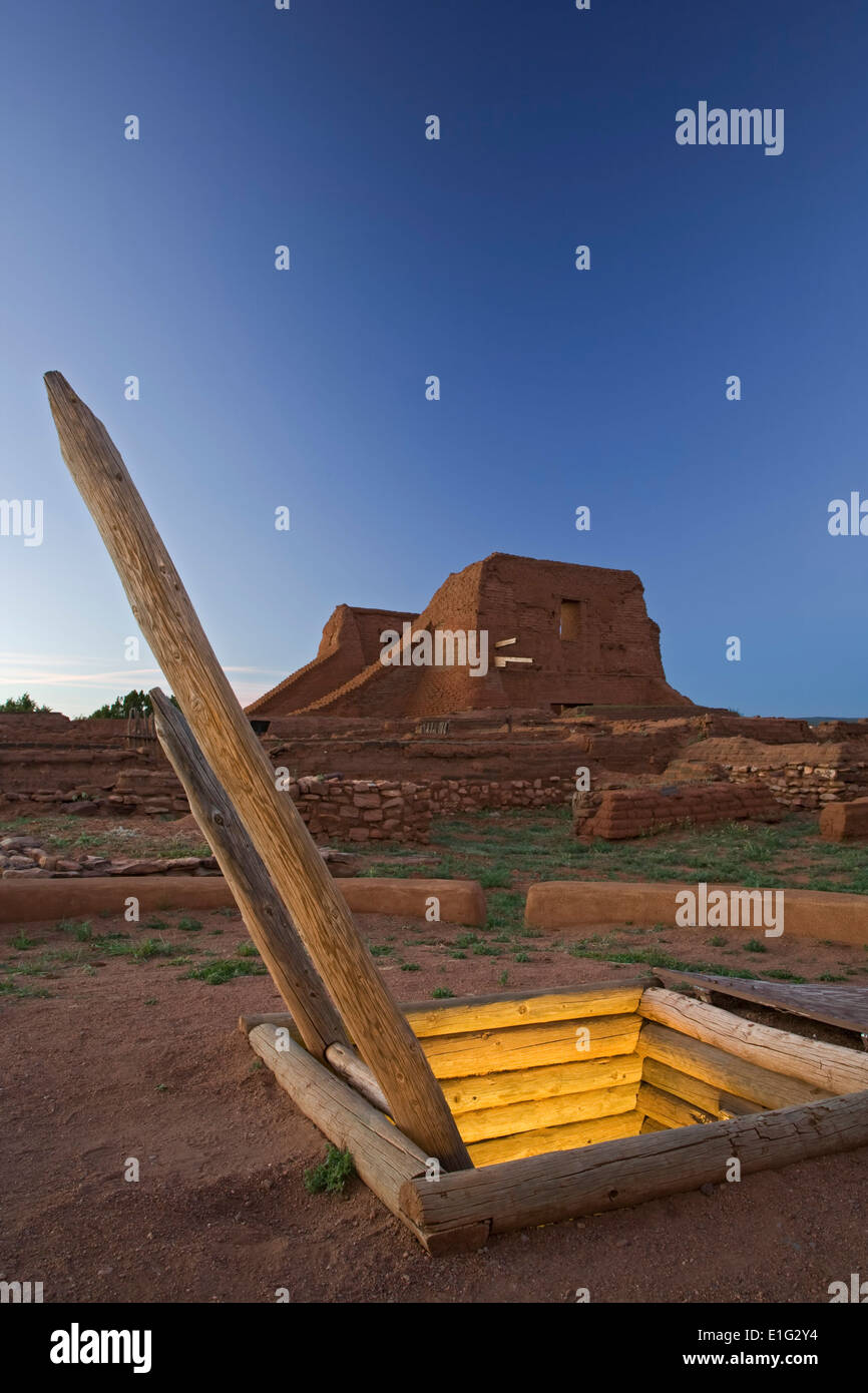 Kiva and mission church ruins, Pecos National Historical Site, Pecos, New Mexico USA - Stock Image