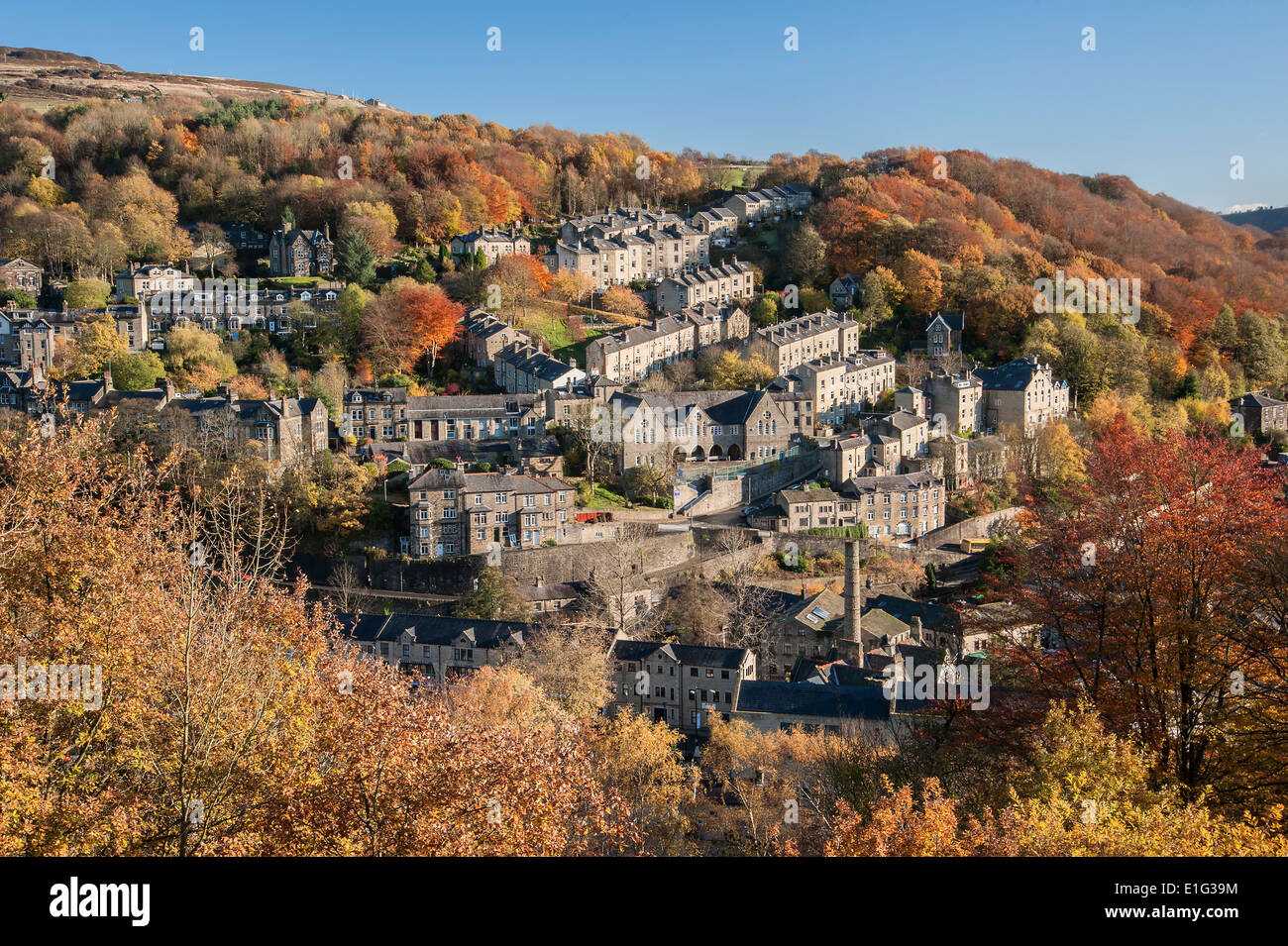 The Northern England market town of Hebden Bridge in West Yorkshire - Stock Image