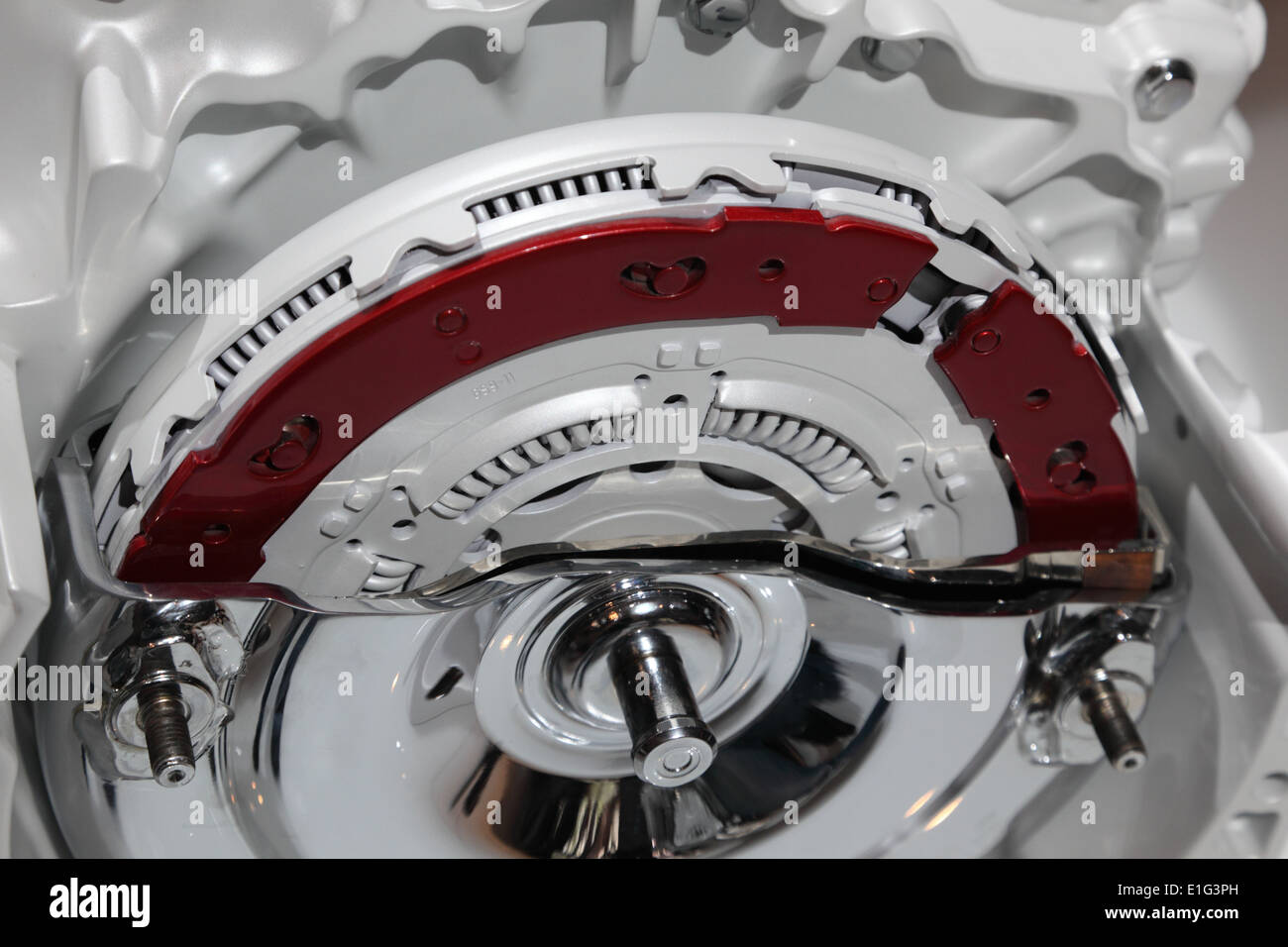 Fly wheel and clutch of a modern motor - Stock Image