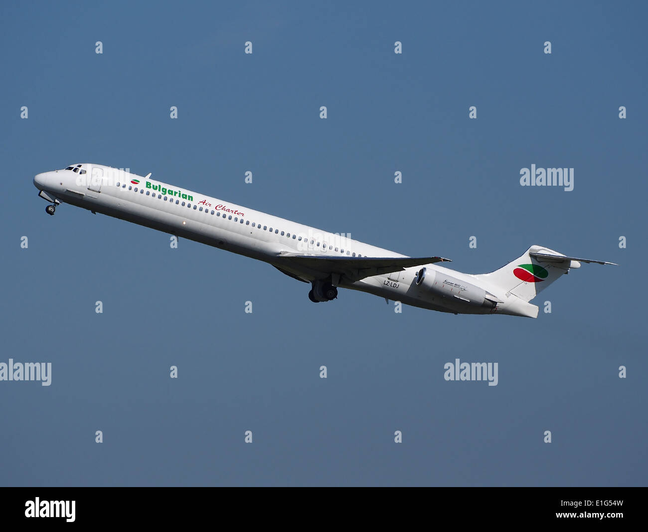 LZ-LDJ Bulgarian Air Charter McDonnell Douglas MD-82 - cn 53230 at Schiphol (AMS - EHAM), The Netherlands, 16may2014 - Stock Image
