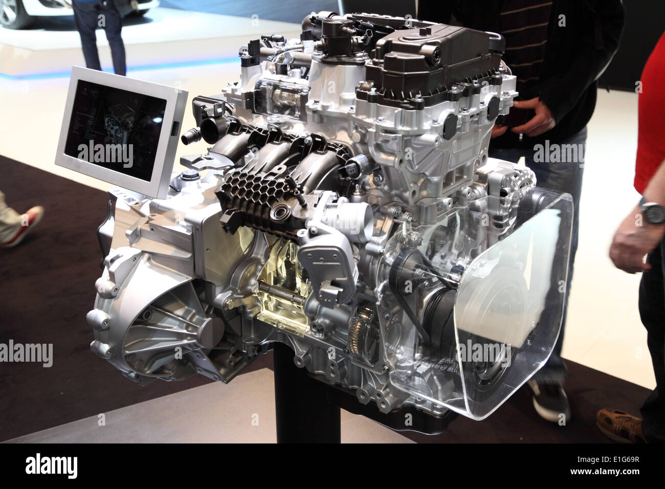New Peugeot e-THP three cylinder motor at the AMI - Auto Mobile International Trade Fair on June 1st, 2014 in Leipzig, Saxony, G - Stock Image