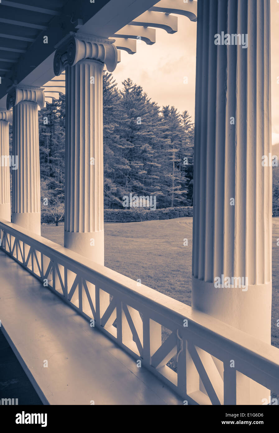 Front porch of a formal estate. - Stock Image