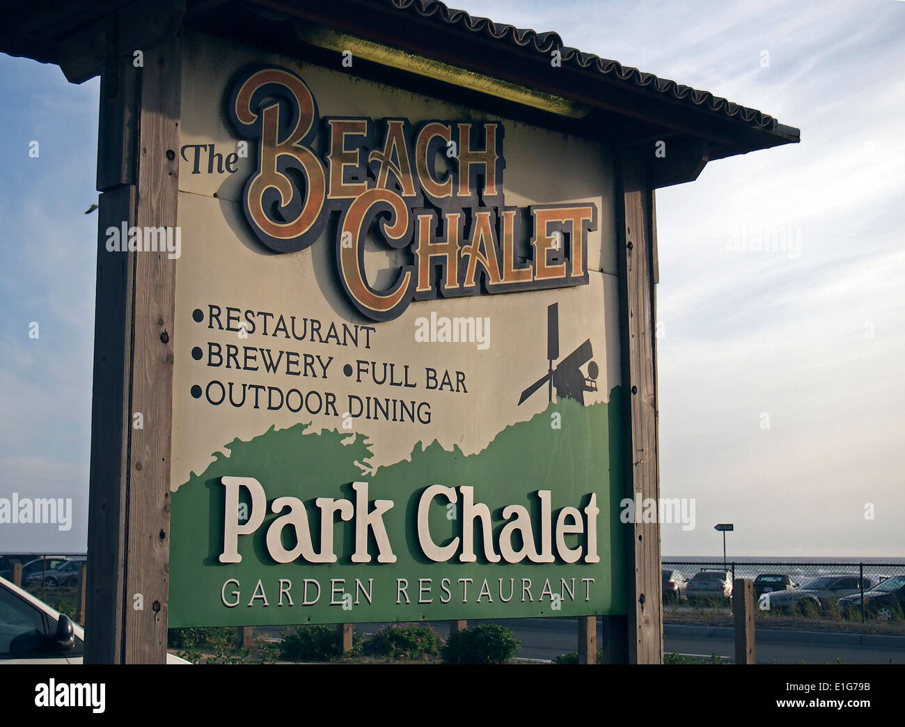 The Beach Chalet restaurant sign, San Francisco - Stock Image