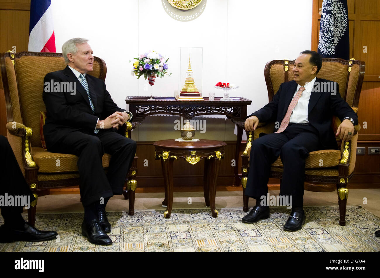 Secretary of the Navy Ray Mabus, left, visits with Thailand's Minister of Foreign Affairs Kasit Piromya in Bangkok, Stock Photo