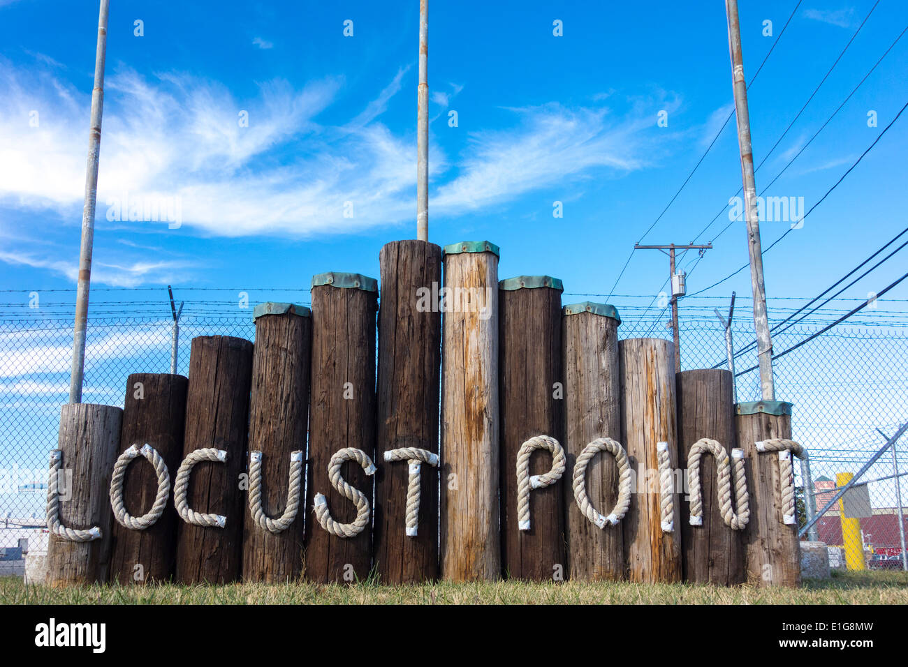 Baltimore Locust Point Sign at Fort Ft McHenry - Stock Image