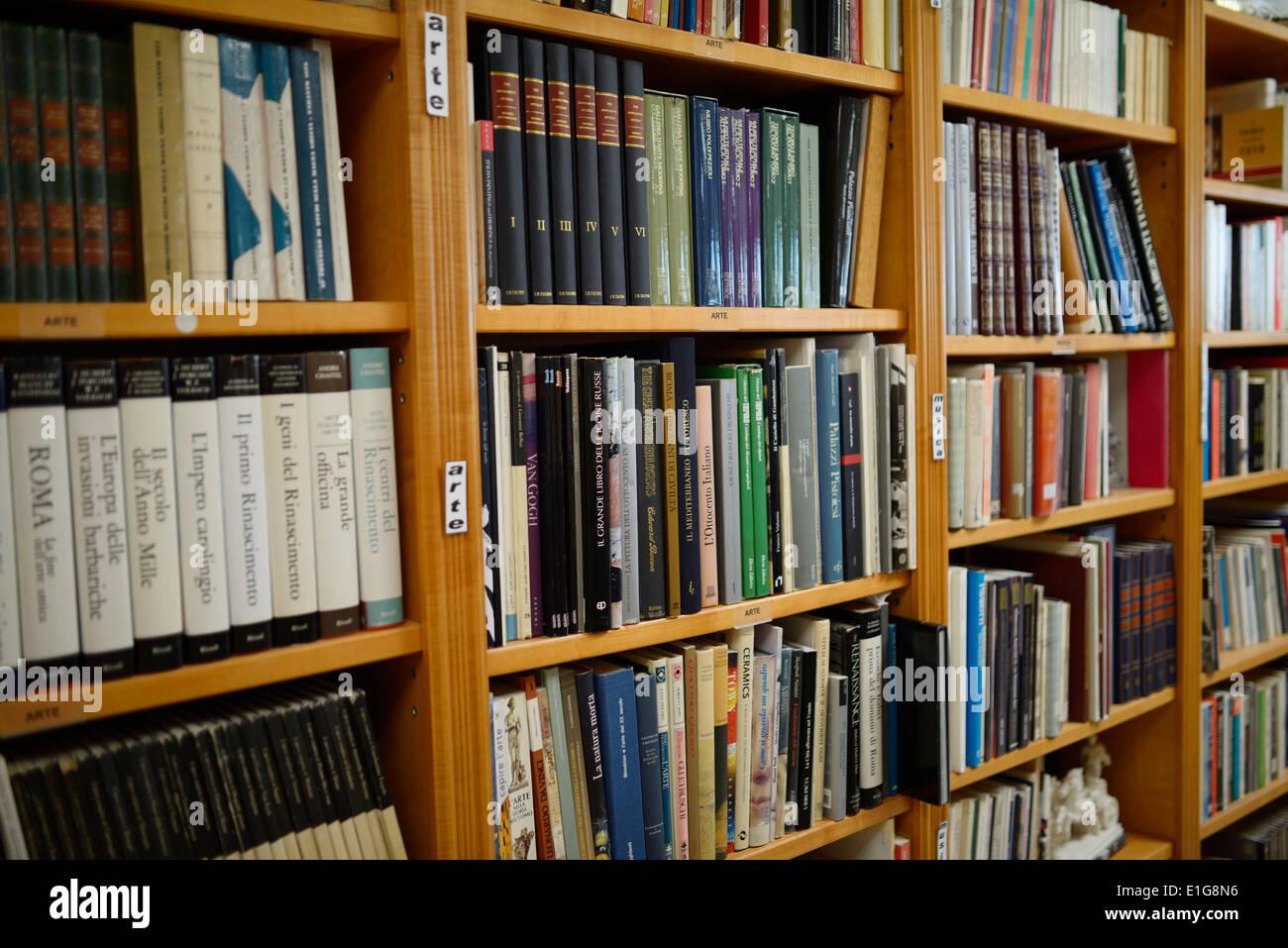 Alberto Di Giovanni Italian library book shelves in the Columbus Centre Toronto Canada - Stock Image