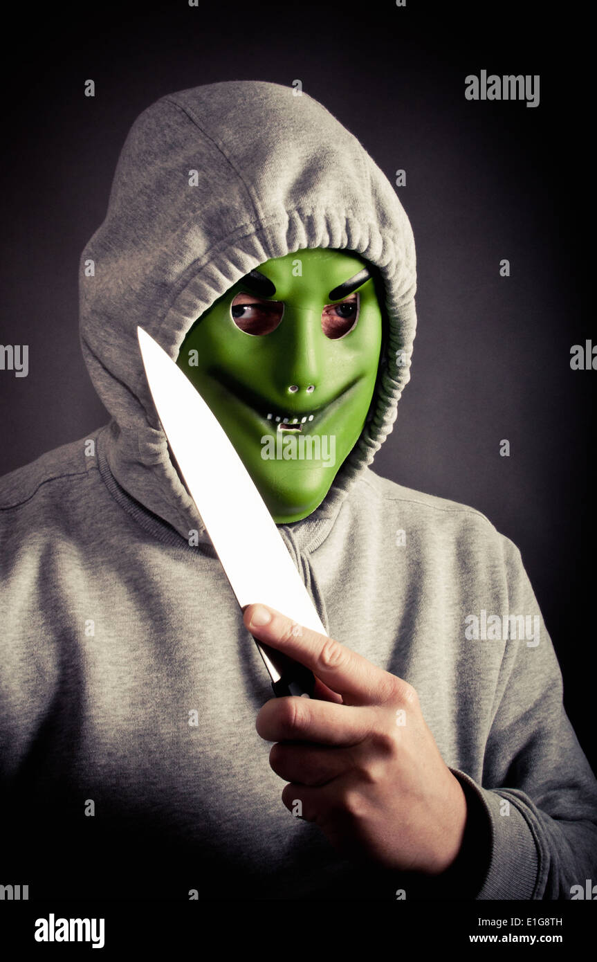 Violent mugger - Stock Image