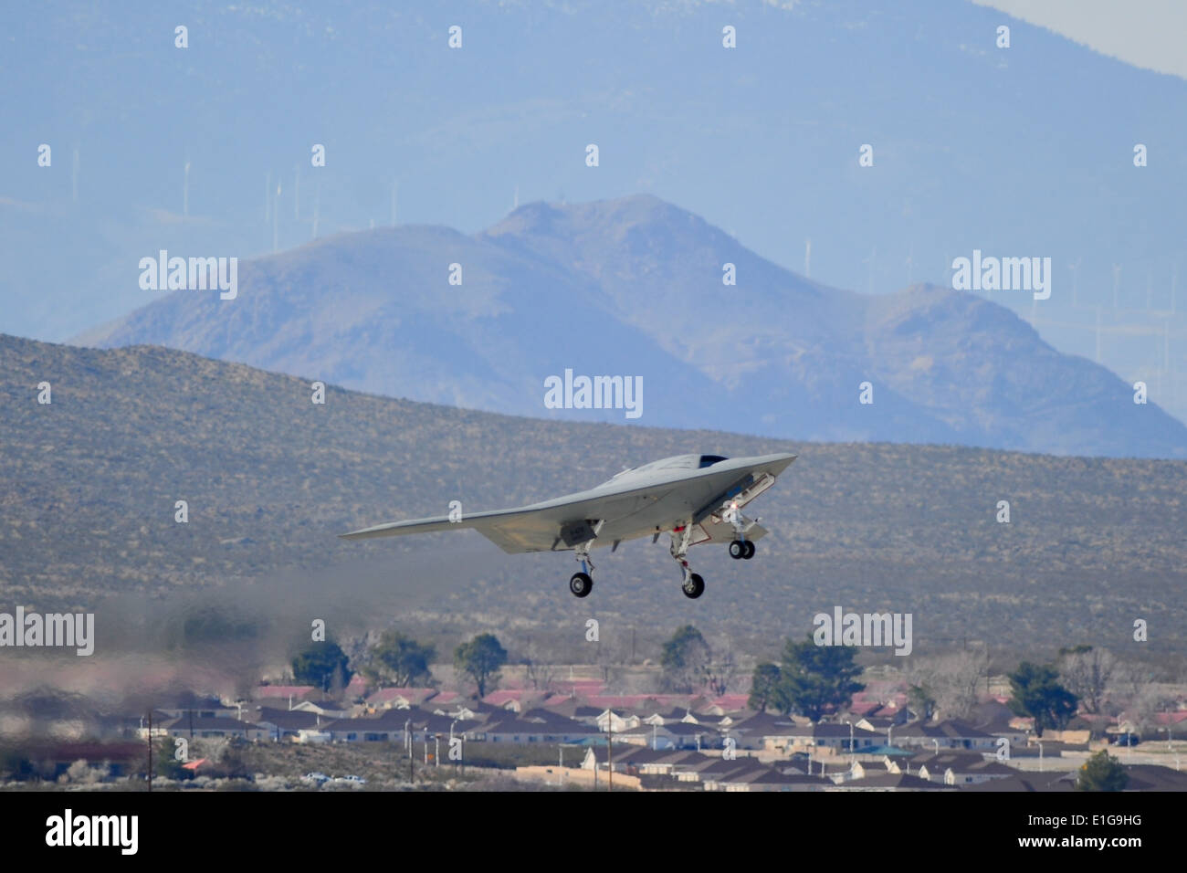 An X-47B Unmanned Combat Air System Demonstrator (UCAS-D) completes its first flight at Edwards Air Force Base, Stock Photo