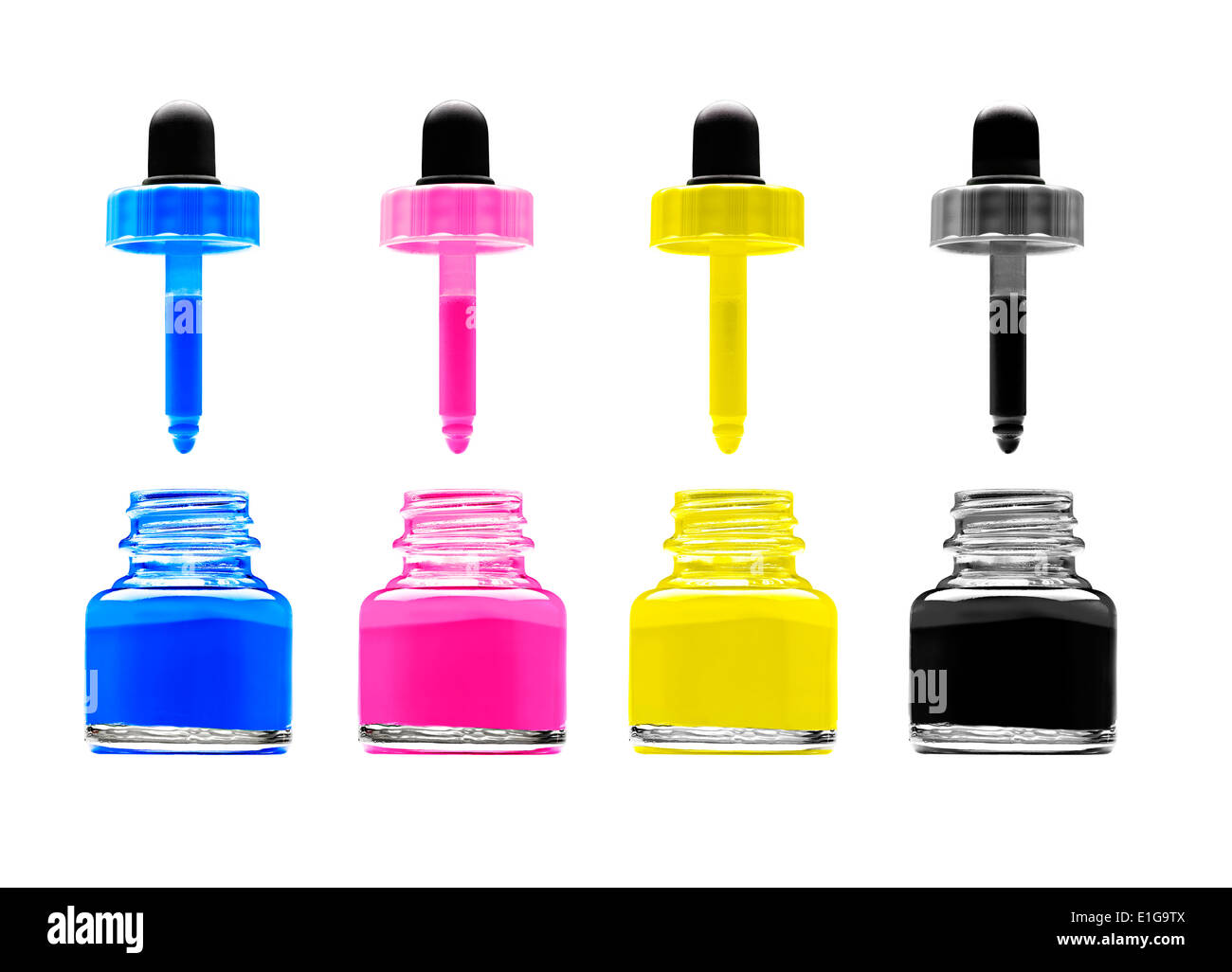 CMYK - Magenta, cyan, yellow and black on white background - Stock Image