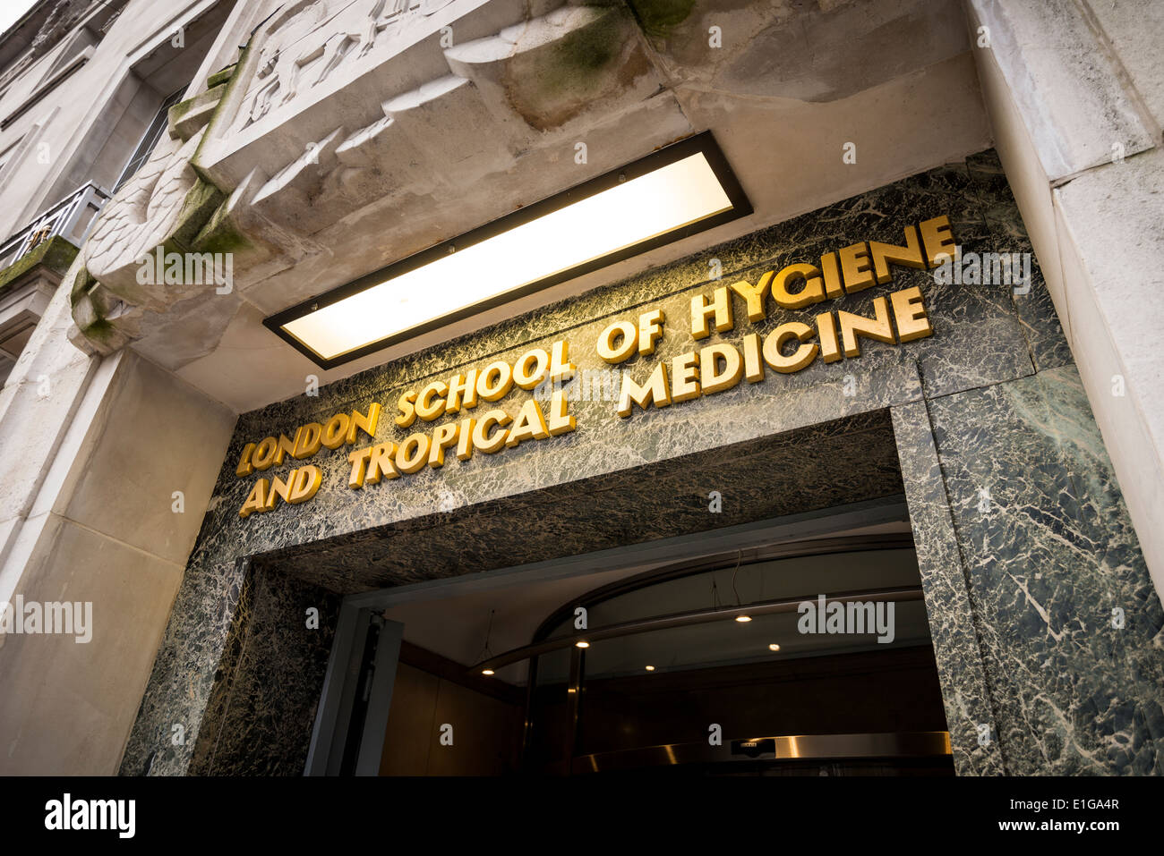 The main entrance to London School of Hygiene and Tropical Medicine in London, UK Stock Photo