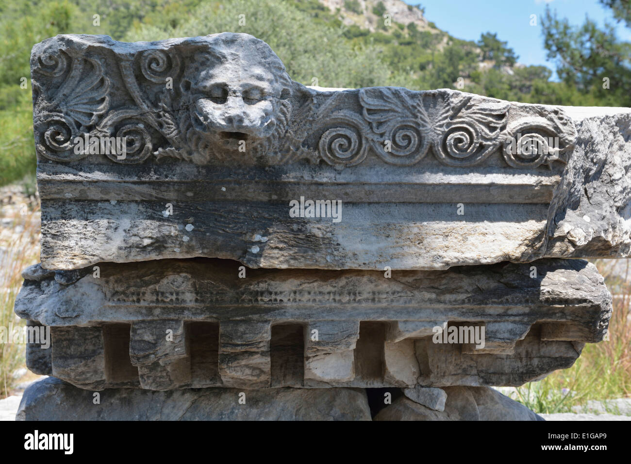 Lion faced downspout near temple of Asclepius, Priene,Turkey 140415_60705 - Stock Image