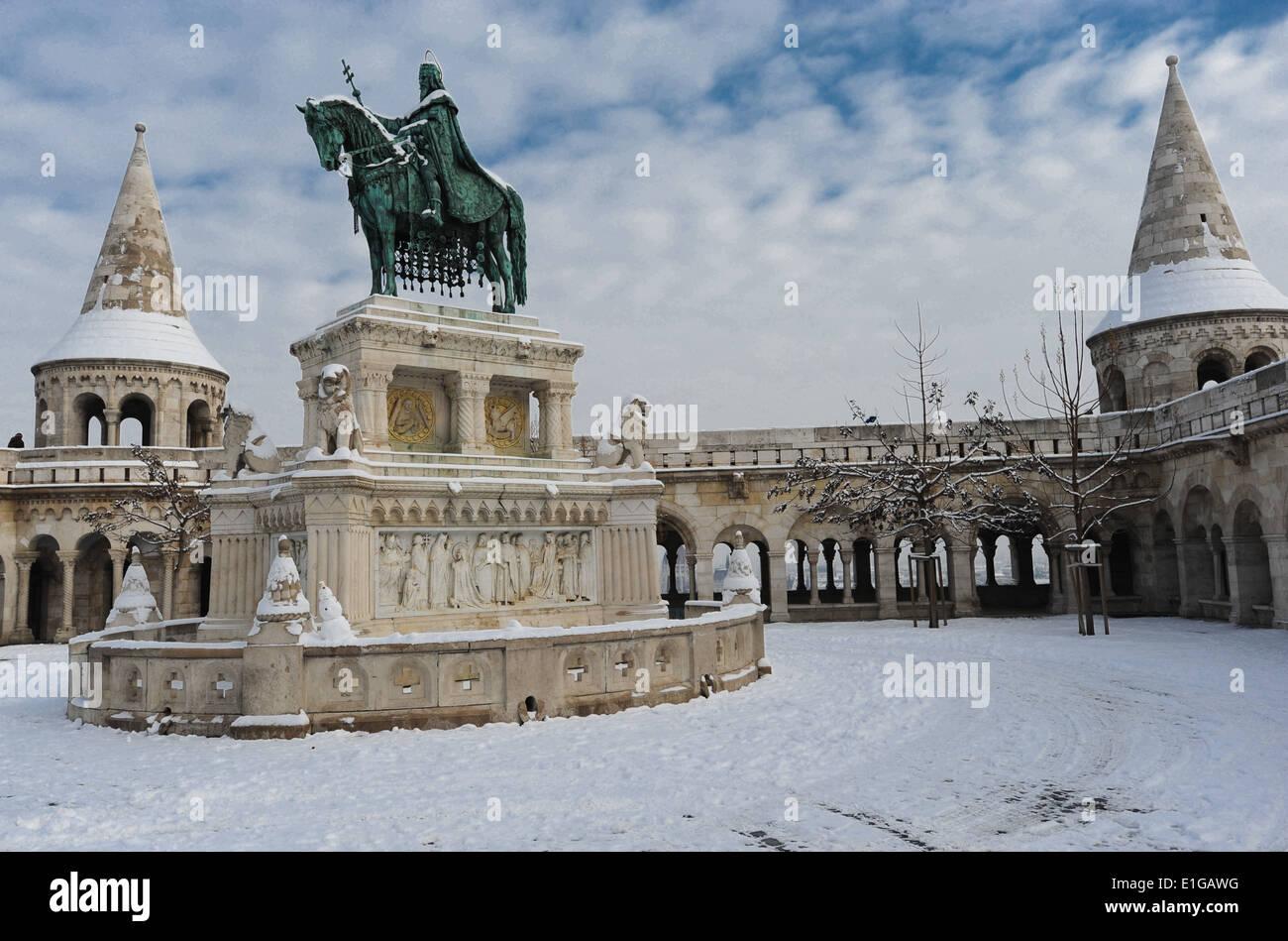 The Fisherman's Bastion (Halaszbastya) of Budapest, Hungary. The Fisherman's Bastion is one of the most visited Stock Photo