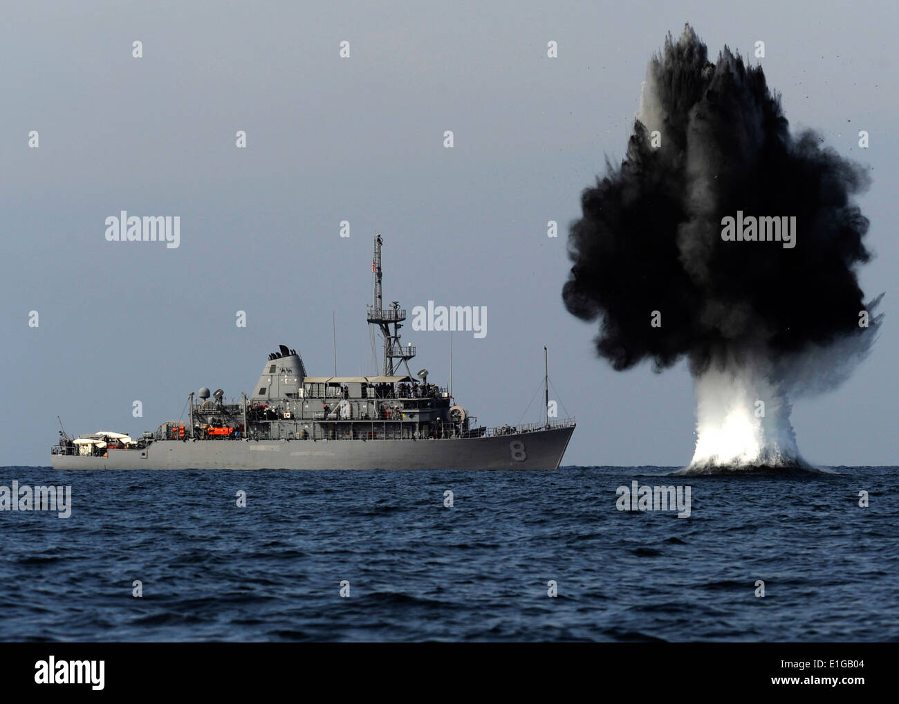 101119-N-6266K-023 STRAITS OF HORMUZ (Nov. 19, 2010) A demolition charge detonates 1,500 meters from Avenger-class Stock Photo