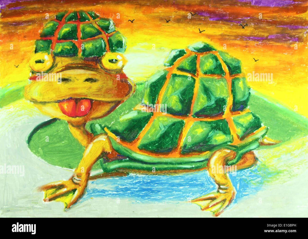 Turtle With Tongue Out Painting Background